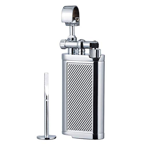 Antique Style Lift Arm Tobacco Pipe Cigarette Butane Lighter with Tamper & Pick (Chrome)