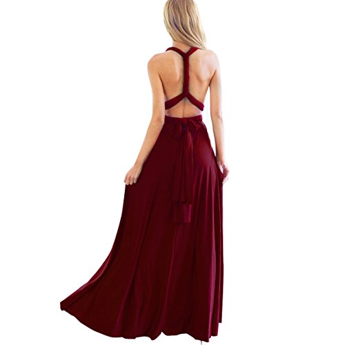 Women's Transformer Convertible Multi Way Wrap Long Prom Maxi Dress V-Neck Hight Low Wedding Bridesmaid Evening Party Grecian Dresses Boho Backless Halter Formal Cocktail Dance Gown Burgundy X-Small