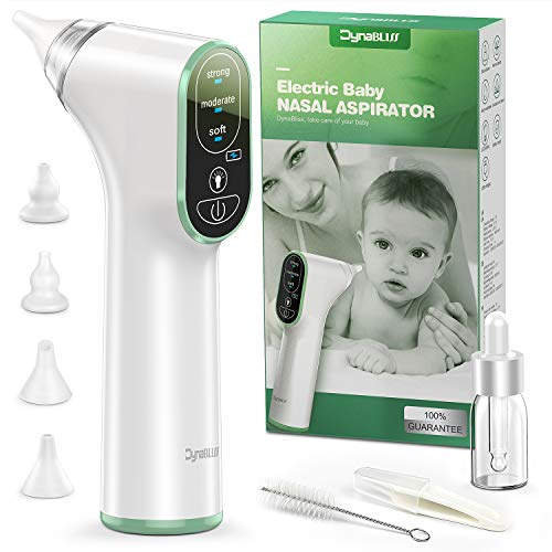 Baby Nasal Aspirator Electric, DynaBliss Baby Nose Sucker with 4 Silicone Tips and 3 Suction Levels, Rechargeable Snot Sucker Includes Bonus Nasal Tweezers and Drop Bottles and Clean Brush