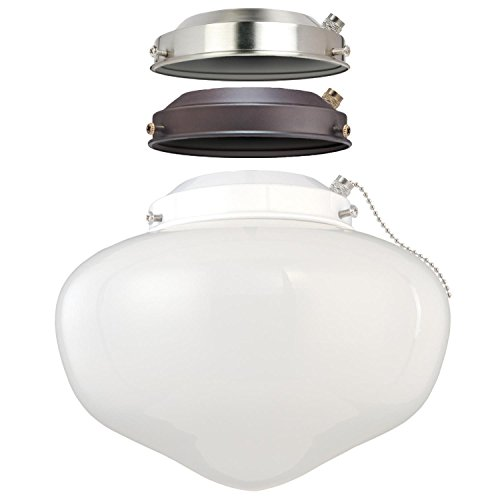 Westinghouse Lighting 7785200 LED Schoolhouse Indoor/Outdoor Energy Star Ceiling Fan Light Kit, Three Fitters with White Opal Glass