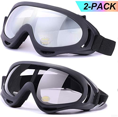 LOEO Ski Goggles Pack of 2, Helmet Compatible Snowboard Goggles for Kids, Teenage, Youth, Boys, Girls, Men and Women, Motorcycle Goggles, Wind Resistance Goggles with Protection, Anti-Glare Lenses
