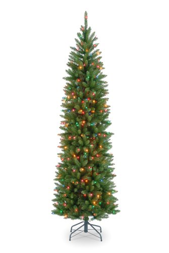 National Tree Company Pre-lit Artificial Christmas Tree   Includes Pre-strung Multi-Color Lights and Stand   Kingswood Fir Pencil - 6.5 ft