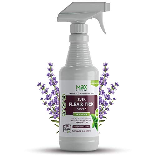 mdxconcepts Zuba Dog's Flea and Tick Control Spray - Peppermint Oil Treatment for Dogs –100% Natural –Essential Oils –Safe to Use –16 oz