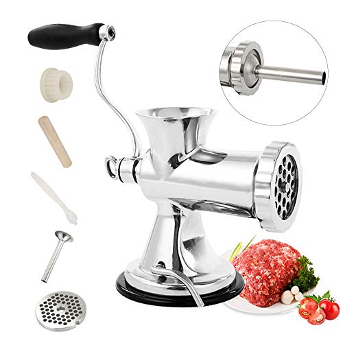 Huanyu Manual Meat Grinder Stainless Steel Hand Meat Sausage Stuffer Manual Meat Grinding Machin Sausage Filler Filling Machine for Pork, Beef Fish Chicken Pepper Mushrooms ect(With ONE SAMLL Enema)