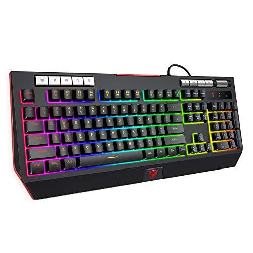 PICTEK Gaming Keyboard with Phone Holder and Volume Wheel,2020 RGB Enhanced Customizable RGB Backlit Wired Keyboard, Mechanical Feeling, 9 Dedicated Media Keys, Splash-Proof, for Mac/PC Game, Black