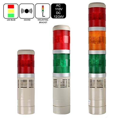 LUBAN Industrial Signal Light Tower, Column LED Alarm Tower Lamp Light Flash Indicator, 3-Layer Stack LED Warning Light with Buzzer for Safety (110V/Steady ON Light)