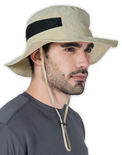 Fishing & Hiking Boonie Sun Hat for Men & Women - UV Protection Wide Brim Bucket Hat - Outdoor Safari Summer Cap - UPF 50+ Light Khaki