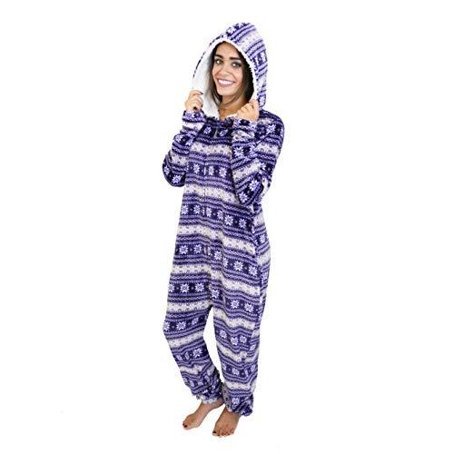 Cherokee Women's Adult Hooded Sleepwear Onesies, fair Isle, Medium