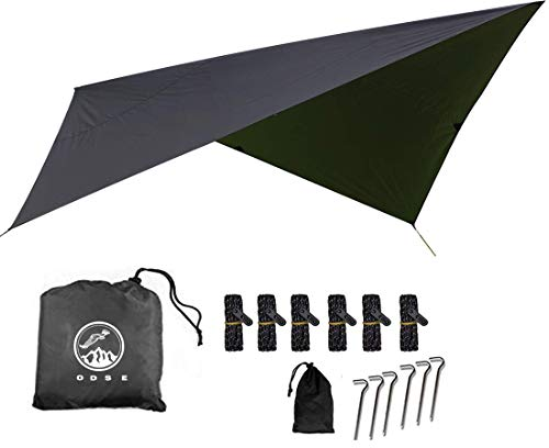 ODSE10x10 Feet Rain Fly Hammock Tent Tarp for 2000PU Waterproof Protection - Large Canopy is Portable and Provides Ideal Shelter for Your Camping Hammock or Tent (Black)
