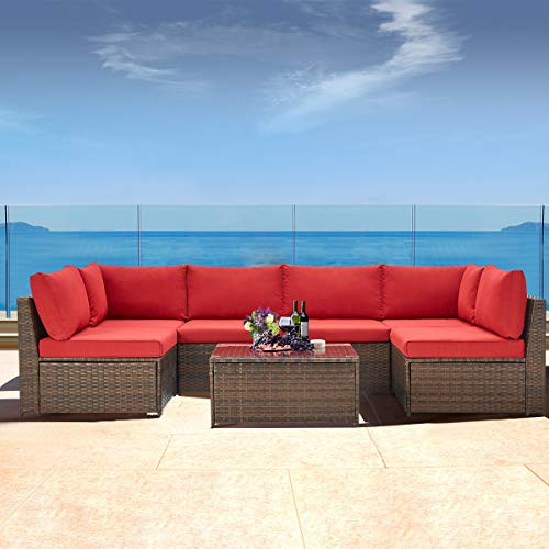 U-MAX 7 Pieces Patio Furniture Set, Brown Wicker Rattan Patio Conversation Sets, All-Weather Outdoor Combination Sofa with Glass Table and Cushion (Red)