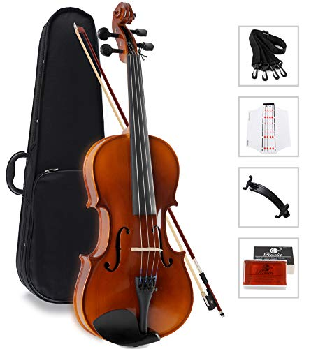 Aileen Solidwood Ebony Kids Students Beginners Violin Rental Shop Preference Outfit with Case, Rosin, Premium Strings, Shoulder Rest, Fingerboard Sticker (4/4)