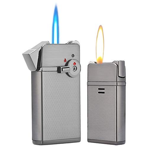 HUOWA Jet Torch Cigar Lighter Soft/Jet Flame Switchable Cigarette Lighter with Adjustable Flame Dial and Rotatable Switch, Butane Refillable for Tobacco Pipe & Cigar