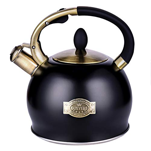 SUSTEAS Stove Top Whistling Tea Kettle-Surgical Stainless Steel Teakettle Teapot with Cool Toch Ergonomic Handle,1 Free Silicone Pinch Mitt Included,2.64 Quart(BLACK)