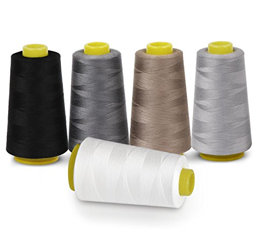 Sewing Thread 100% Polyester Spools 5 Colors 3000 Yard Spools Overlock Cone for Serger Sewing Machine