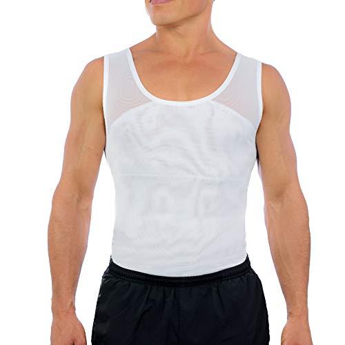 Esteem Apparel Original Men's Chest Compression Shirt to Hide Gynecomastia Moobs (White, Large)