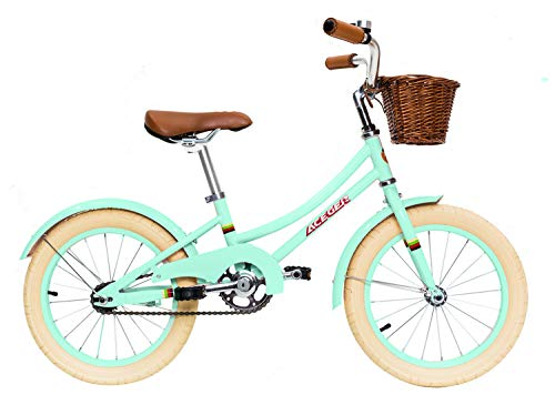 ACEGER Girls Bike with Basket for Kids 4 to 6 Years Old, 16 inch with Training Wheels and Kickstand(Spring Green, 16 inch)