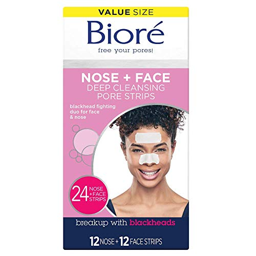 Bioré Nose Face, Deep Cleansing Pore Strips, 24 Ct Value Size, 12 Nose + 12 Face Strips for Chin or Forehead, Instant Blackhead Removal & Pore Unclogging, Oil-free, Non-Comedogenic, Packaging May Vary