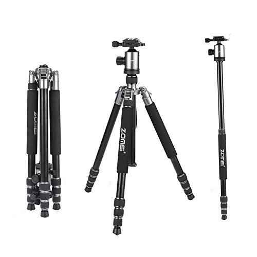 ZOMEi Professional Z818/888 Camera Tripod and Monopod with 360 Degree Quick Release Ball Head and Carrying Case for Digital DSLR Canon EOS Nikon Sony Panasonic Samsung 18' to 65' Silver