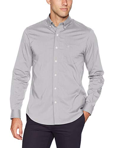 Dockers Men's Long Sleeve Button Up Perfect Shirt, Foil, Large