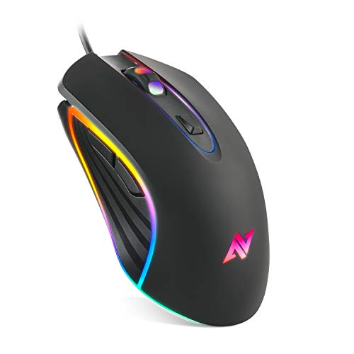 ABKONCORE M30 Gaming Mouse Wired, USB Computer Mice for Game & Daily, 8 Programmable Buttons, Chroma RGB Backlit, 3500 DPI Adjustable, Comfortable Grip Ergonomic Mice for PC, Laptop, Mac, Windows