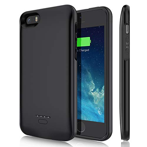YISHDA Battery Case for iPhone 5/5S/SE(4.0 inch), 4000mAh Rechargeable Extended Battery Charging Case Magnetic Charger Case Protective Backup Power Cover for iPhone 5/5S/SE-Black (Not Fit 5C/SE 2020)