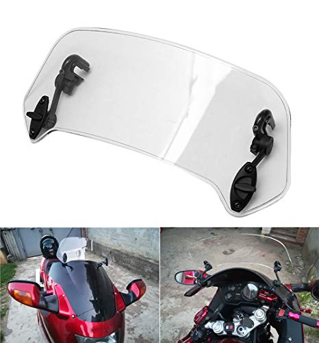 AQIMY Motorcycle Adjustable Clip On Windshield Extension Spoiler Windscreen Air Deflector for Honda BMW F800 R1200GS Kawasaki Yamaha