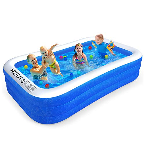 VRZTLAI Family Inflatable Swimming Pool, Inflatable Lounge Pool for Kiddie, Kids, Adults, Infant, Toddlers, Easy Set Swimming Pool for Garden, Backyard, Outdoor Summer Water Party (120' X 72' X 22')