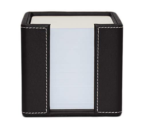 Memo Cube Holder, Black, Faux Leather, Supplied with 1,000 Sheets of Paper