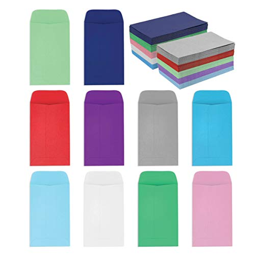 Coin and Small Parts Envelopes 2.25'x 3.5' with Gummed Flap 10 Assorted Colors Pack of 100 Envelopes for Home and Office Use