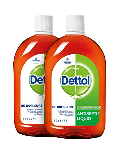 Dettol Antiseptic Disinfectant Liquid 33.8 Oz (1000 ml) Germ Protection Disinfectant for First Aid, Home & Personal Hygiene (Pack of 2)