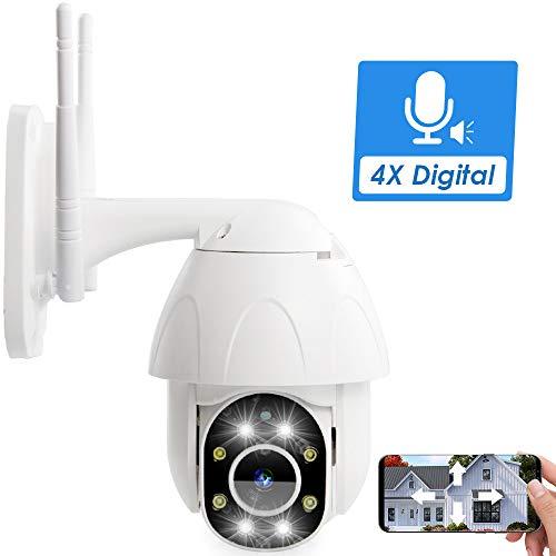 PTZ Camera Outdoor, Fyuui 1080P Wireless Security Camera, 2.0MP WiFi IP Camera, Wireless Pan Tilt Zoom (4xDigital) IP Camera,2 Way Audio, Color Night Vision, Motion Tracking, Light Alarms