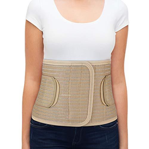 ORTONYX Breathable 9.5' Abdominal Binder/Postpartum Postoperative Wrap/Abdomen Hernia Support Belt for Men and Women - L/XL (32'-43') Beige