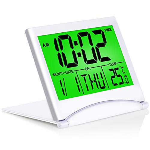 Betus Digital Travel Alarm Clock - Foldable Calendar & Backlight & Temperature & Timer LCD Clock with Snooze Mode - Large Number Display, Battery Operated - Compact Desk Clock for All Ages (Silver)