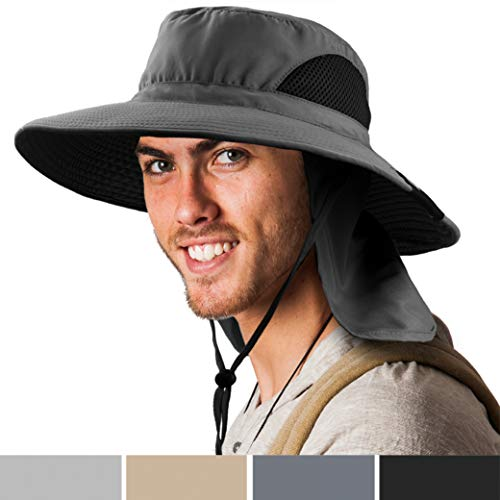 SUN CUBE Boonie Hat with Neck Cover Flap, Wide Brim | Outdoor Fishing, Hiking, Beach, Summer Bucket Hat | UPF 50+ Sun Protection | Packable Breathable Men, Women Sun Hat (Grey)
