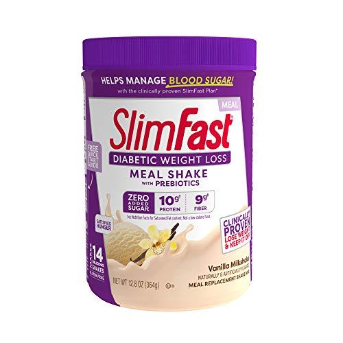 Slimfast Diabetic Weight Loss - Vanilla Milkshake Mix-10g Of Protein-12.8oz - Pantry Friendly