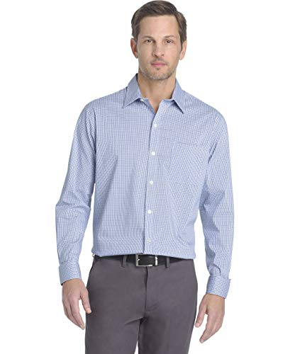 Van Heusen Men's Traveler Stretch Non Iron Long Sleeve Shirt, Mazarine Blue Check, Large