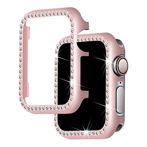 Falandi for Apple Watch Case 40mm, Series 5/4 Apple Watch Face Case with Bling Crystal Diamonds Plate iWatch Case Cover Protective Frame for Apple Watch 38mm Series 3/2/1 (Rose Gold-Diamond, 40mm)