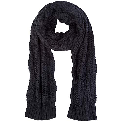 Women And Mens Winter Thick Cable Knit Wrap Chunky Long Warm Scarf D-Black