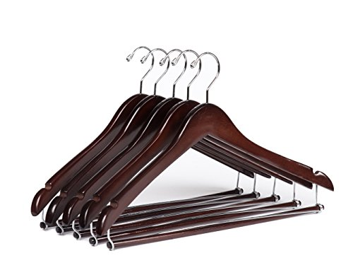 Quality Hangers Wooden Hangers Beautiful Sturdy Suit Coat Hangers with Locking Bar Mahogany (5)