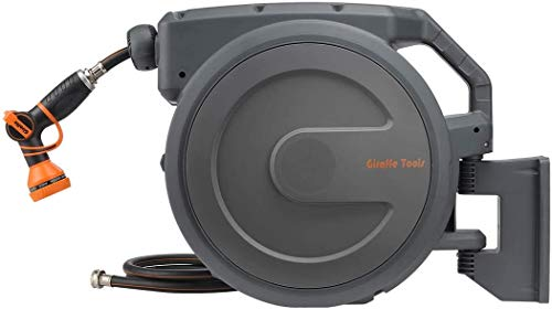 Giraffe Hose Reel, 90FT Wall Mounted Retractable Garden Hose Reel with 7 Pattern Hose Nozzle, Any Length Lock/Automatic Rewind/Slow Return System/Wall Mounted/180°Swivel Bracket …