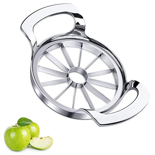 Sinnsally Apple Slicer Upgraded Version 12-Blade Extra Large Apple Corer Peeler,Stainless Steel Ultra-Sharp Fruit Corer & Slicer,Cutter,Wedger,Chopper,Decorer Tool,Divider for Up to 4 Inches Apples