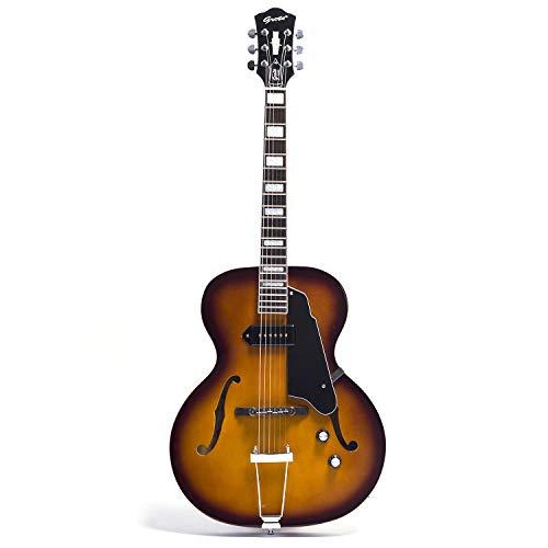 NEW GROTE Jazz Electric Guitar Hollow Body Chrome Hardware (Vintage Sunburst)