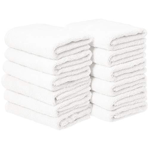 AmazonBasics Cotton Hand Towels - Pack of 12, White