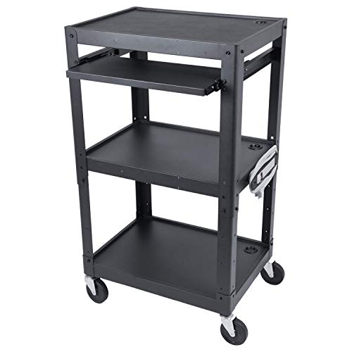 Steel Frame AV Cart with Wheels for Classrooms and Offices - Audio Visual Cart with Wheels for Printer, Projector, TV, Laptop - Three Shelf Rolling Cart with Power Outlets and Adjustable Shelves