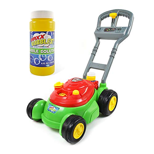 Sunny Days Entertainment Maxx Bubbles Bubble-N-Go Deluxe Toy Bubble Mower with Bonus 4 oz Bubble Solution