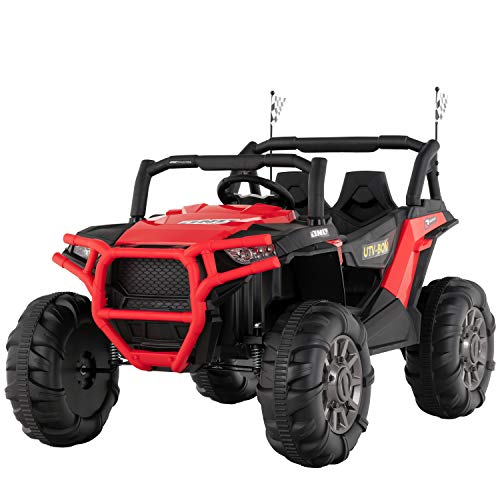 Uenjoy 12V Electric Ride on Cars, Realistic Off-Road UTV, Two Seater Ride On Truck, Motorized Vehicles for Kids, Remote Control, Music, 3 Speeds, Spring Suspension, LED Light (Red)