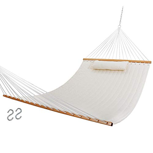 """SUPER DEAL Extra Large Hammock with Pillow Waterproof UV-Resistance 2-Person Quilted Fabric Swing with Solid Wood Spreader & Chains, 78"""" x 54.3"""" Beige"""