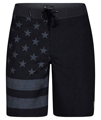 Hurley Men's Apparel Phantom Cheers USA Flag 20' Boardshort Swimwear, Black A, 38'