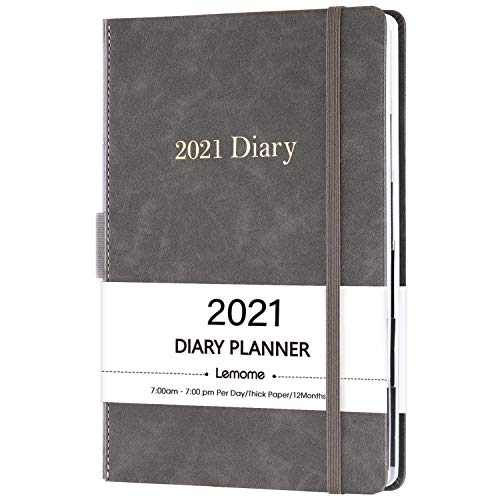 2021 Diary Planner/Appointment Book - 2021 Hourly Planner 5-3/4' x 8-1/2', January 2021 - December 2021, Daily Planner with Monthly Tabs, Inner Pocket/Pen Loop/Banded/Bookmarks