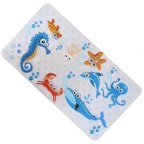 DEPPOL None-Slip Tub Kids Bath Mat - Premium Square Anti-Slip Shower Mat,Cool Slip Resistant Bathroom Floor Bathtub Mats for Babies,Children,Toddler (Blue Octopus)